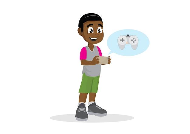 Menino africano que joga o jogo no smartphone. Vetor Premium
