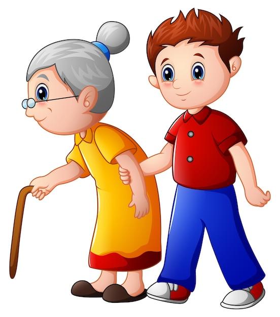 Menino ajuda a velhinha e ajudando-a a andar com sua bengala Vetor Premium