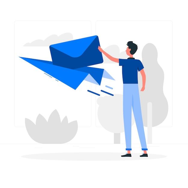 Menino azul com estilo simples de avião de papel Vetor grátis