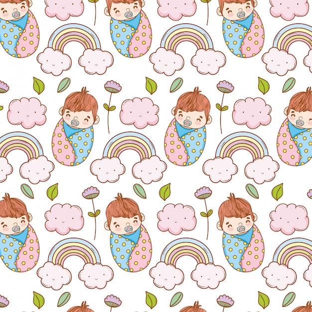 Menino bebê, em, a, cobertor, e, arco íris, com, nuvens, fundo Vetor Premium