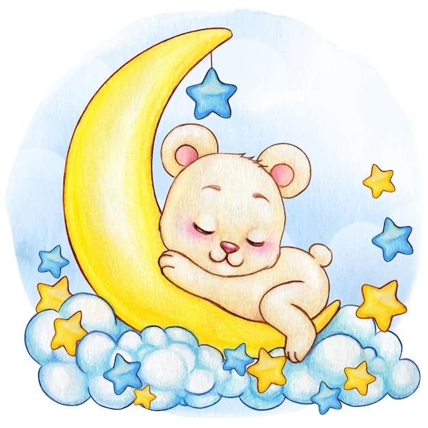 Menino Bonito Aquarela Urso Branco Dormindo Na Lua Vetor Premium