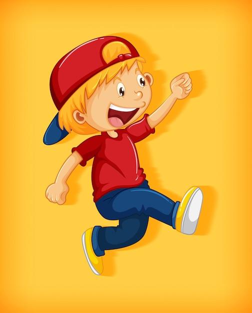 Menino bonito com boné vermelho com estrangulamento na posição de caminhar personagem de desenho animado isolado em fundo amarelo Vetor grátis