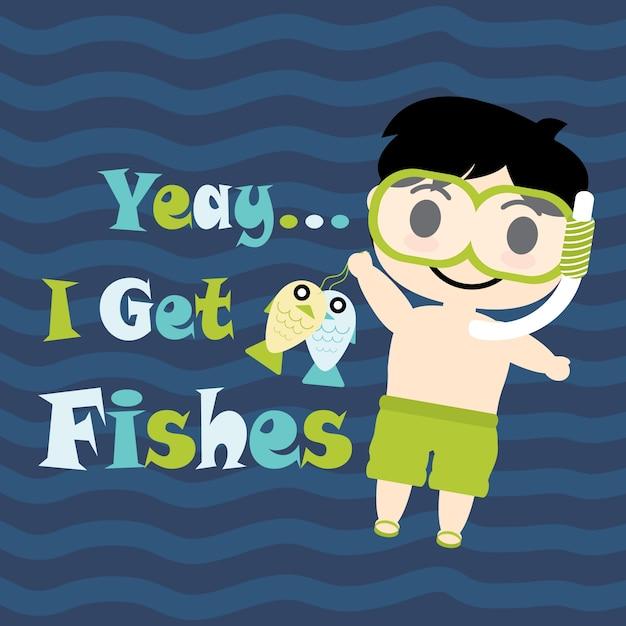 Menino bonito com desenhos animados de óculos de mergulho, cartão de ... d558b19b99