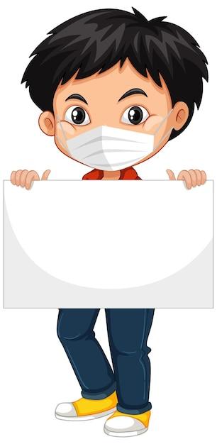 Menino bonito com máscara facial segurando um cartaz em branco ou cartaz. conceito de coronavírus Vetor grátis