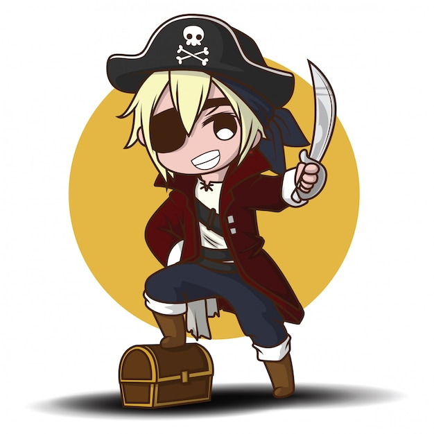 Menino bonito dos desenhos animados em traje de pirata Vetor Premium