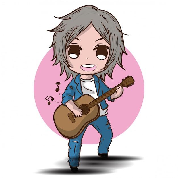 Menino bonito dos desenhos animados está tocando violão. performance musical. Vetor Premium