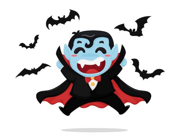 Menino bonito dos desenhos animados usando traje drácula está curtindo a festa no dia das bruxas. Vetor Premium