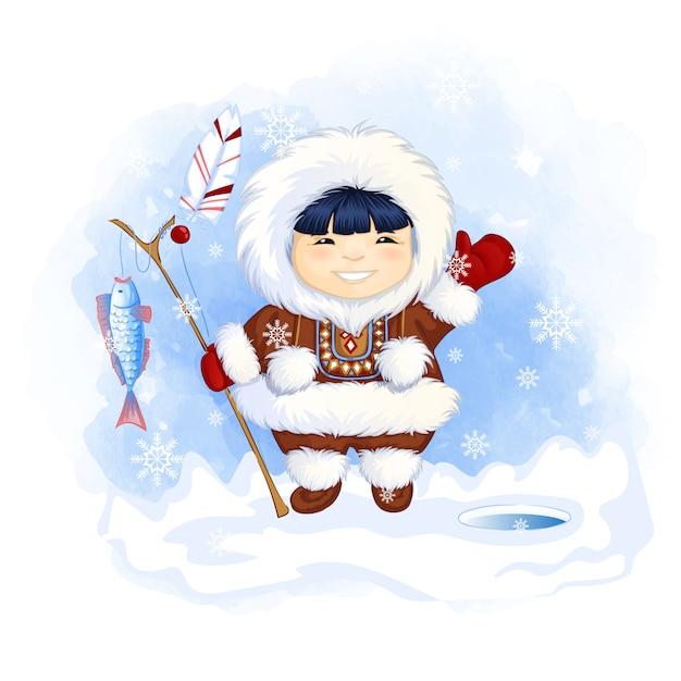 Menino bonito esquimó segura uma vara de pescar com um peixe apanhado e acena com a mão em saudação. Vetor Premium