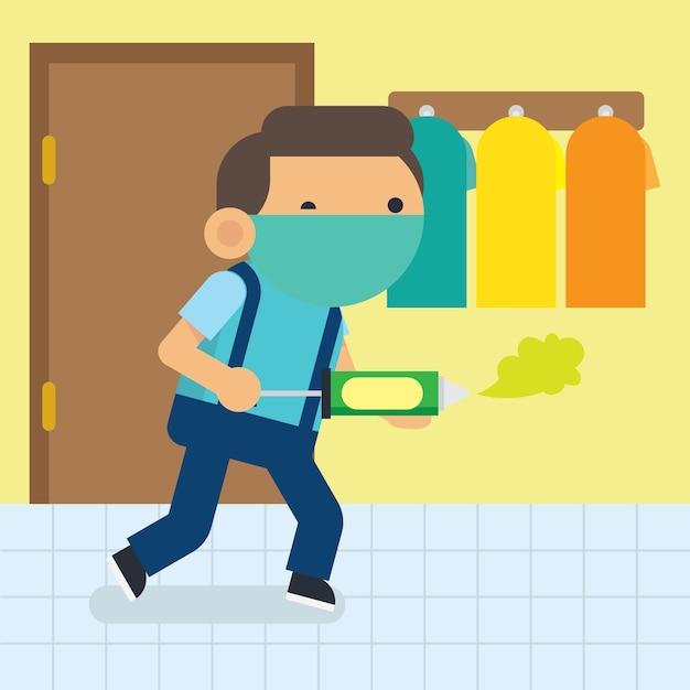 Menino bonito fazendo atividades de casa-núcleo. poster de hábito de limpeza para crianças Vetor Premium