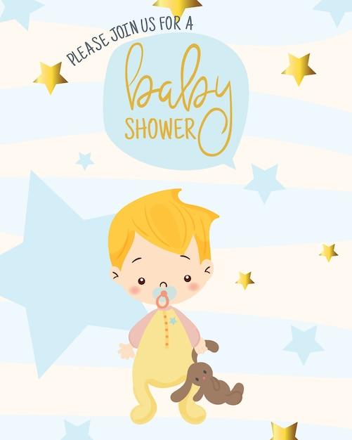Menino bonito para o modelo de design de cartão de convite do chuveiro de bebê Vetor Premium