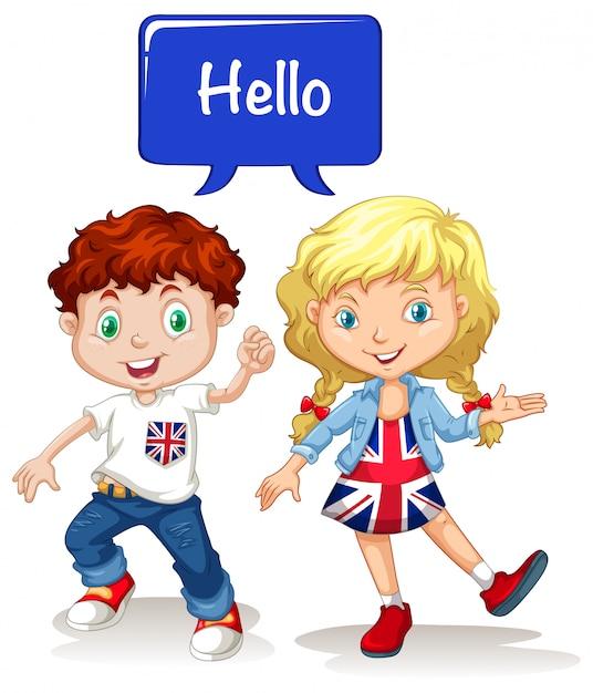 Menino britânico, e, menina, dizendo olá Vetor grátis