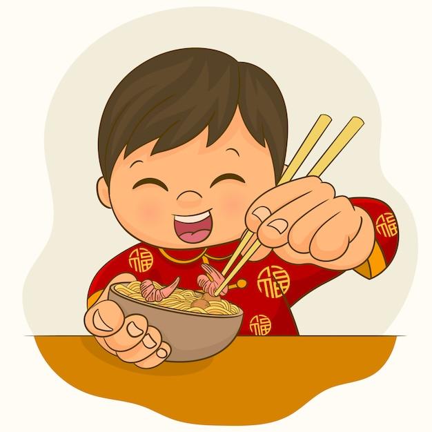 Menino chinês, comendo refeição Vetor Premium