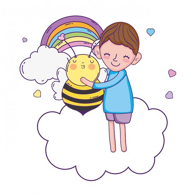 Menino, com, abelha, kawaii, personagem Vetor Premium