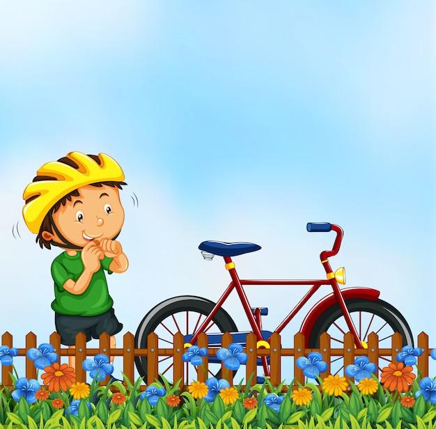 Menino, com, bicicleta, natureza, cena Vetor grátis