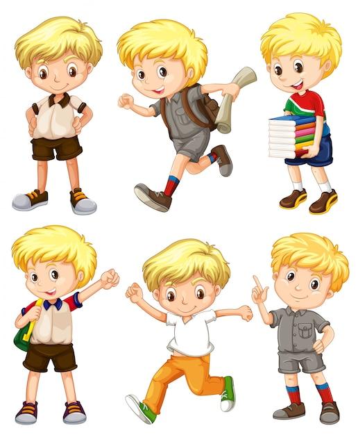 Menino com cabelos loiros em diferentes ações ilustração Vetor grátis