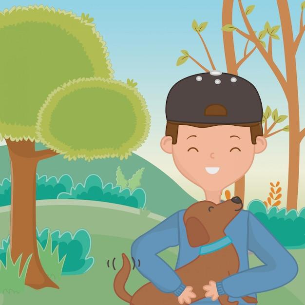 Menino, com, cão, caricatura, desenho Vetor grátis
