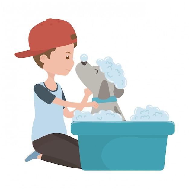 Menino, com, cão, de, caricatura, levando, chuveiro Vetor grátis