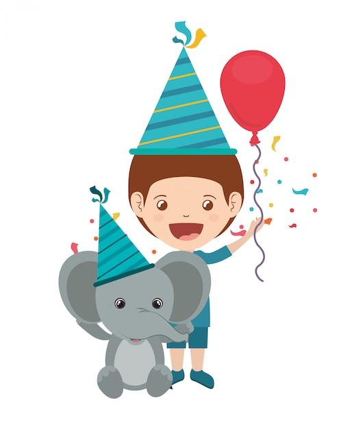 Menino, com, elefante, em, aniversário, celebração Vetor Premium