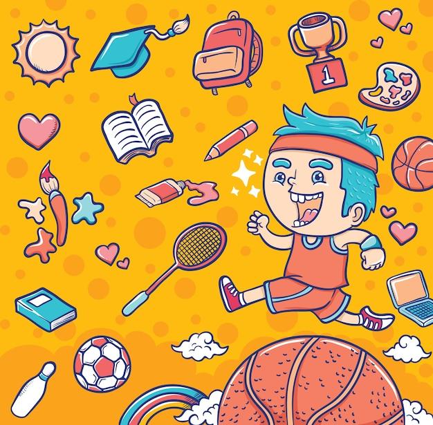 Menino com equipamentos de esporte e educação Vetor Premium