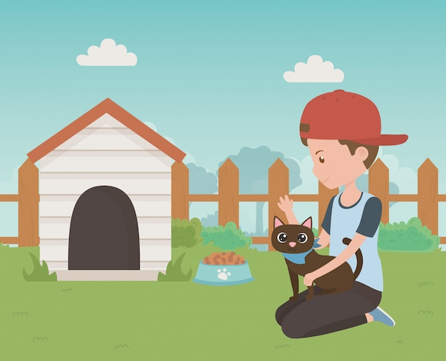 Menino, com, gato, caricatura, desenho Vetor grátis