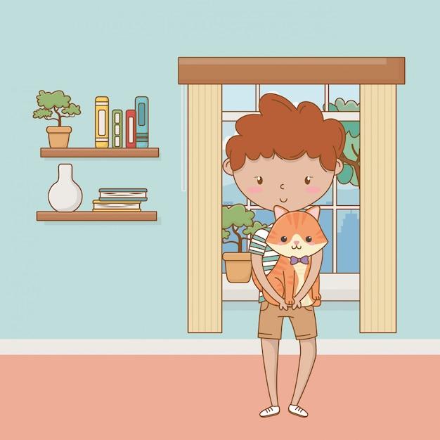 Menino, com, gato, caricatura, desenho Vetor Premium