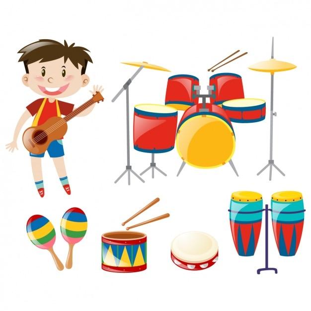 Menino Com Instrumentos De Música