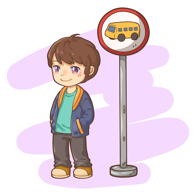 Menino, com, ponto ônibus Vetor Premium