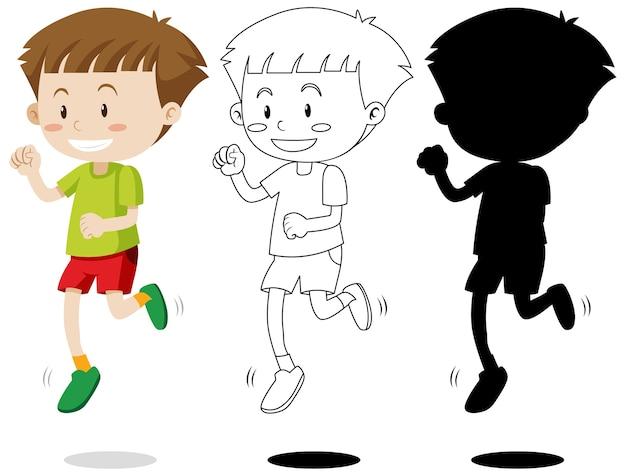 Menino correndo com seu contorno e silhueta Vetor grátis