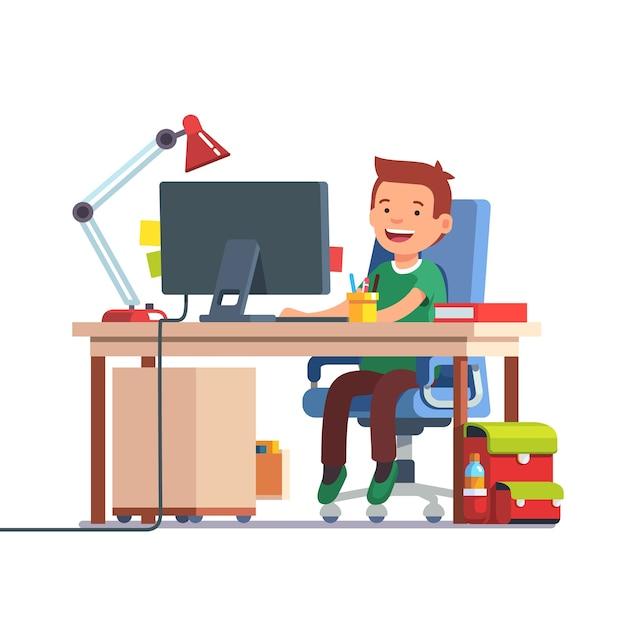 Menino da escola que estuda na frente do computador Vetor grátis