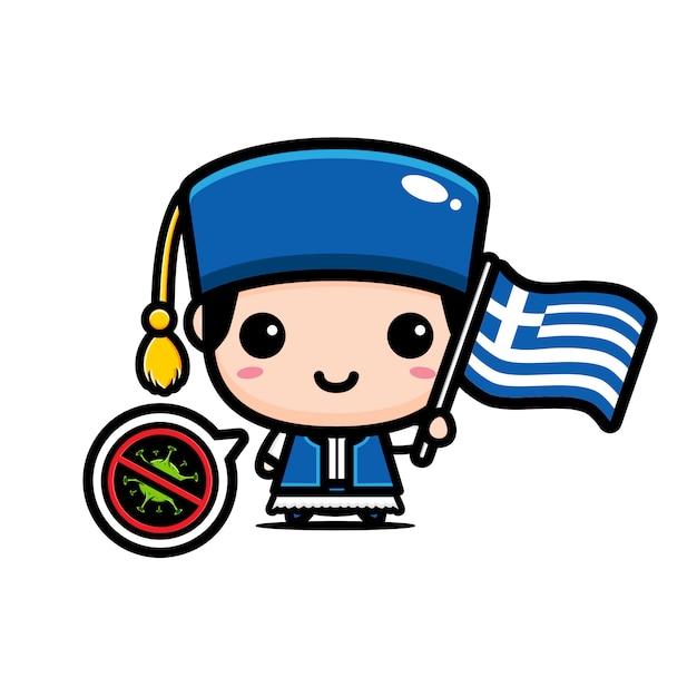 Menino da grécia com bandeira contra vírus Vetor Premium
