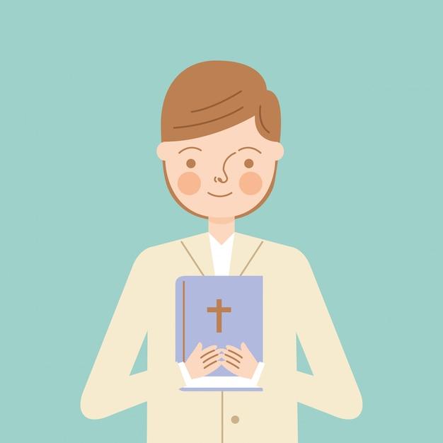 Menino de criança com a bíblia Vetor Premium