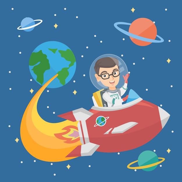 Menino de sorriso caucasiano que monta uma nave espacial. Vetor Premium