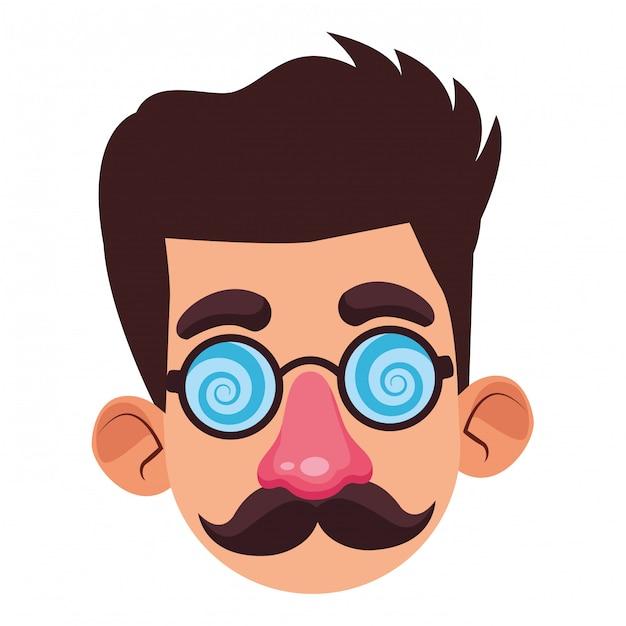Menino disfarçado com um avatar de perfil de máscara Vetor Premium