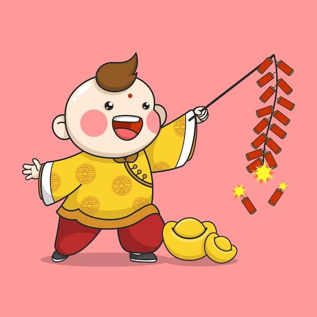 Menino do ano novo chinês brincando de biscoito de fogo Vetor Premium