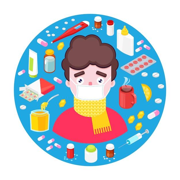 Menino doente com diferentes drogas e medicamentos Vetor Premium