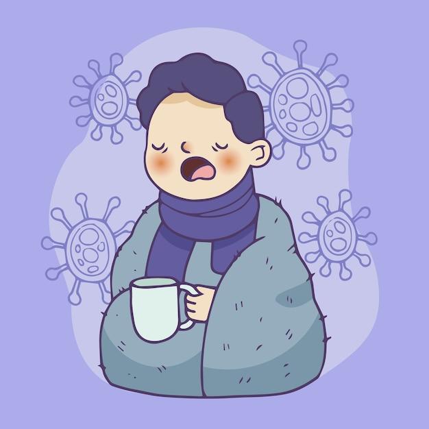 Menino doente, segurando uma xícara de chá Vetor grátis