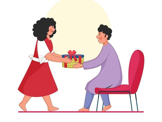 Menino dos desenhos animados e uma menina segurando uma caixa de presente no fundo branco. Vetor Premium