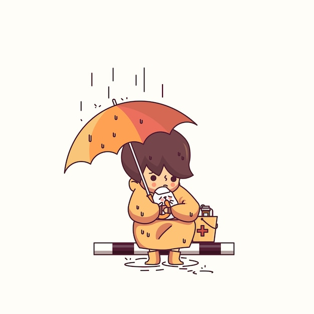 Menino e cachorro na ilustração em vetor personagem chuva Vetor Premium