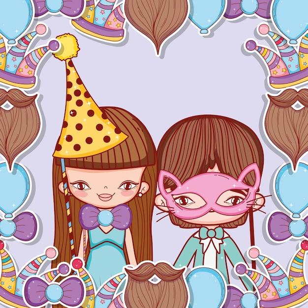Menino e menina com decoração de fantasia de festa Vetor Premium