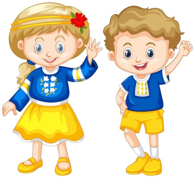 Menino e menina da ucrânia Vetor grátis