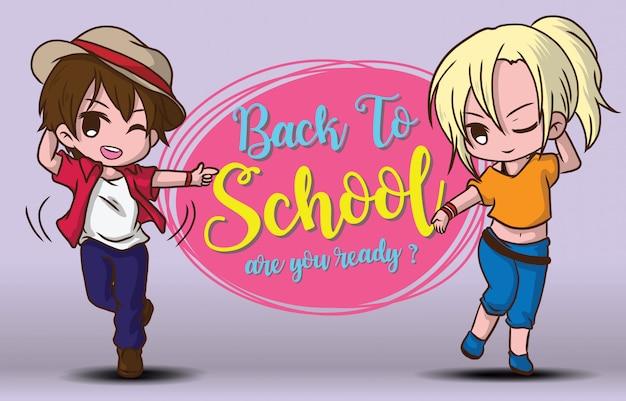 Menino e menina de volta ao modelo de escola. Vetor Premium