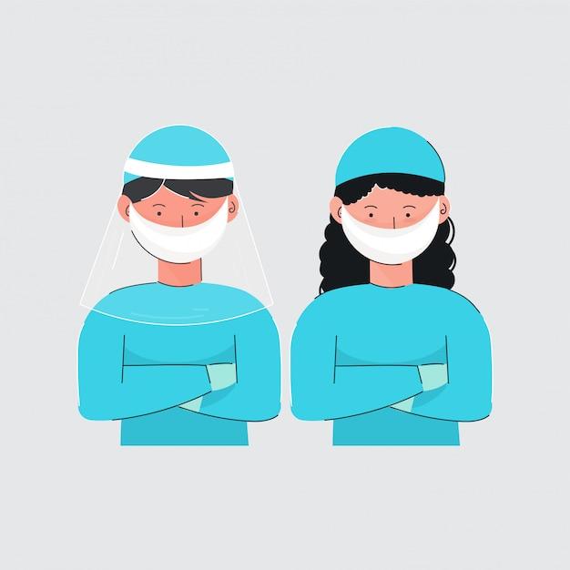 Menino e menina dos desenhos animados que vestem o uniforme médico protetor em gray background. Vetor Premium