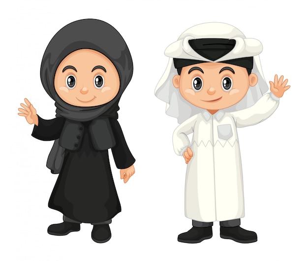 Menino e menina em traje de qatar Vetor grátis
