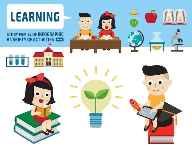 Menino e menina estudando juntos. elementos infográfico. plana bonito dos desenhos animados design ilustração. Vetor Premium