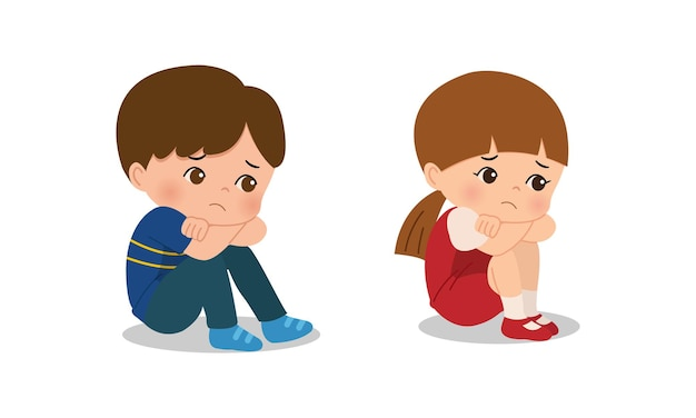 Menino e menina sentados no chão e tristes Vetor Premium