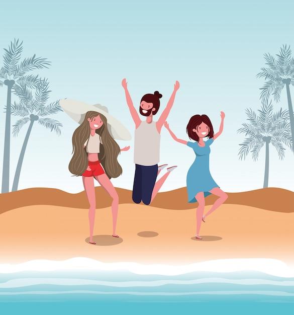 Menino e meninas com roupa de banho de verão Vetor Premium