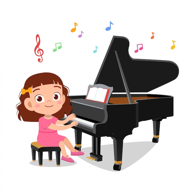 Menino e uma menina tocando piano Vetor Premium