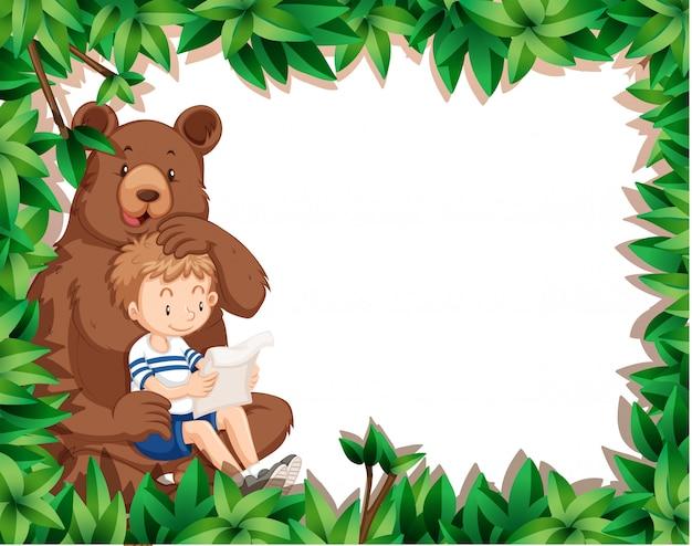 Menino e urso no quadro de natureza Vetor grátis