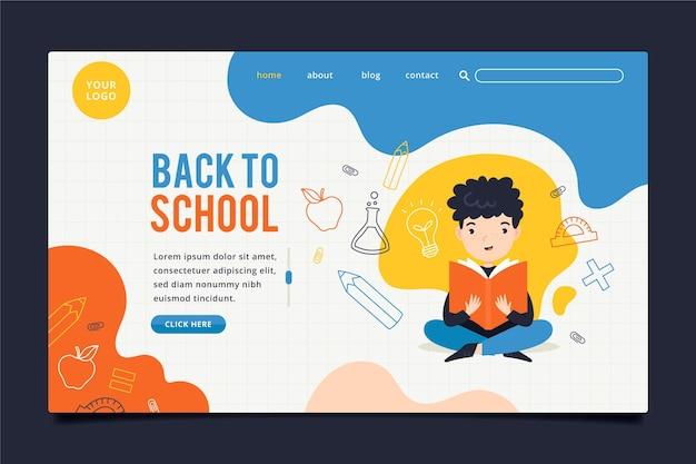 Menino estudando de volta à página inicial da escola Vetor Premium