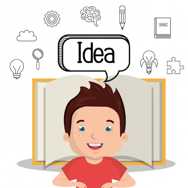 Menino estudando design ícone isolado Vetor Premium